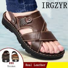 IRGZYR <b>Summer Men's</b> Leather <b>Sandals Men's</b> Thick-soled Beach ...