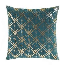 ZANJA Green & Gold Metallic Detail Cushion Cover в 2019 г.