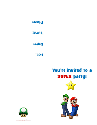 super mario bros printable birthday party invitation super mario bros printable birthday party invitation