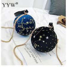 Retro <b>Letter</b> Embroidery Ball Bag Women <b>Shoulder Bag Round</b> ...
