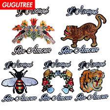 2019 <b>GUGUTREE Embroidery Big</b> Tiger <b>Bee</b> Patches Bird Flower ...
