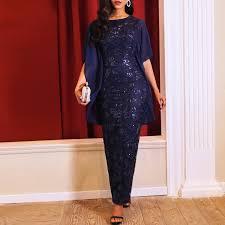Party Elegant Long Pencil <b>Dresses</b> Vintage Blue <b>Office Lady</b> ...