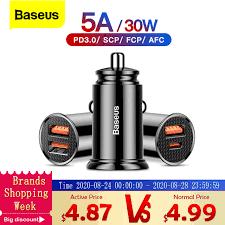 <b>Автомобильное зарядное устройство Baseus</b> Quick Charge 4,0 3 ...
