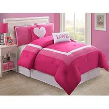 <b>4 Piece</b> Girls Hot Light Pink Love Twin Comforter Set, <b>Pretty</b> Heart ...