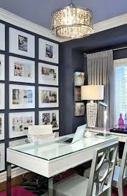 home office with gallery wall and modern pendant light chandelier home office lighting