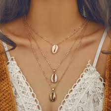 Summer Boho <b>Three Layers of Shell</b> Pendant Necklace for Women ...