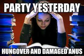 Party yesterday Hungover and damaged anus - Struggling - quickmeme via Relatably.com