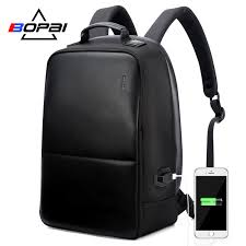 <b>BOPAI</b> Anti Theft <b>Laptop Backpack</b> USB Charge Men Leather Travel ...