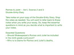 romeo and juliet prologue romeo juliet double entry diary act i scenes 2 and 3