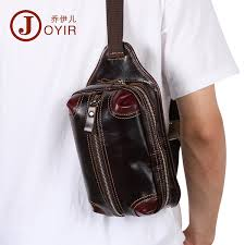 <b>Joyir Genuine Leather Men</b> Waist Bag Vintage Pure Color ...