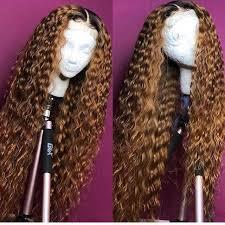 Soft <b>Curly Ombre</b> Human Hair Wig <b>1B</b>/<b>30</b> Color Lace Wigs Brazilian ...