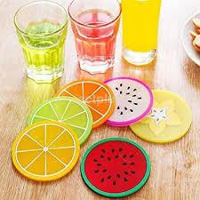 <b>6Pcs</b>/Set <b>Fruit</b> Coaster Colorful <b>Silicone</b> Tea Cup Drinks Holder Mat ...