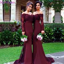 <b>Sexy Lace Burgundy Bridesmaid</b> Dresses 2018 Mermaid Long ...