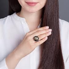 Купить <b>Кольцо обсидиан золотистый</b> Мексика огранка (<b>серебро</b> ...