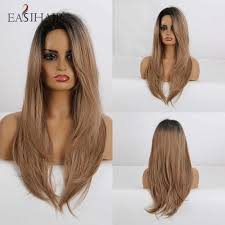 EASIHAIR <b>Long Straight</b> Black to Brown Ombre Wigs with <b>Side</b> ...