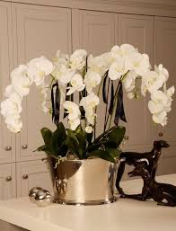 day orchid decor: orchid in a large champagne cooler rtfact artificial silk flowers