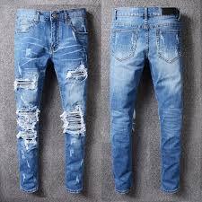2019 Hot Mens Holes Jeans Men Frayed Whisker Jeans Cowboy ...