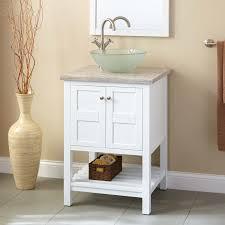 Bathroom White Vanities 24 Everett Vessel Sink Vanity White Bathroom