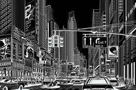 Cartoon <b>City</b>, black | R10622 | Rebel Walls UK