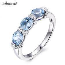 2019 <b>Ainuoshi</b> 3 Stones Ring 925 Silver 1.5 Carat <b>Oval</b> Cut <b>Sky</b> Blue ...