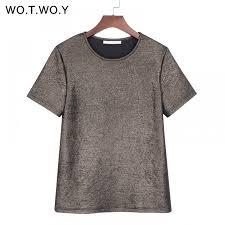 WOTWOY <b>Summer Shiny Lurex Tops</b> Women Basic T-Shirt Casual ...