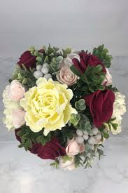 Christmas burgundy and blush garden bouquet with greenery ...