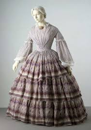 introduction to th century fashion victoria and albert museum dress a pattern that complements the shape created by the cage crinoline worn underneath it
