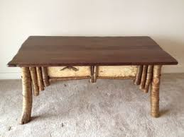 rustic coffee table with birch bark accents bark furniture
