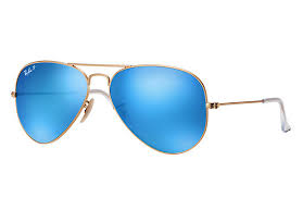 Ray-Ban Aviator <b>Flash Lenses</b> RB3025 Matte Gold - Metal - Blue ...