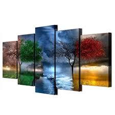 ZHANGWLH <b>Five Panel Wall</b> Decoration Painting <b>5 Panel</b> Tree ...