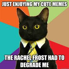 Just enjoying my cute memes the rachel frost had to degrade me ... via Relatably.com