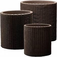 <b>Комплект кашпо Keter</b> S M L <b>CYLINDER</b> PLANTERS коричневый ...