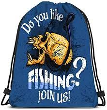 Drawstring Backpack Bags Sports Cinch <b>Fisherman Skull and</b> Hook ...
