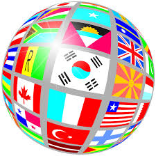 Globe with country flags
