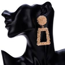 Big Vintage <b>Earrings</b> for women <b>gold color</b> Geometric statement ...
