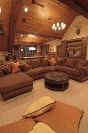 rustic style living room clever: theres a pool table and a sectional now we just need a deer head