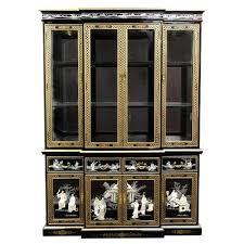 oriental furniture asian dining room furniture 82 inch fine ming black lacquer breakfront china cabinet hutch asian dining room furniture