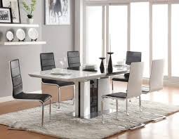 dining room design ideas using furry white rug under dining table including black white black white modern kitchen tables