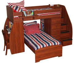 cherry wood bunk bed with desk and storage stair using three tone striped pattern bed sheet bunk beds stairs desk