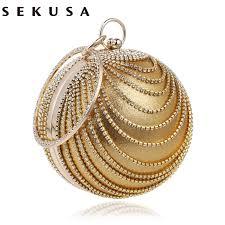 <b>SEKUSA</b> Circular <b>Tassel Rhinestones Women</b> Evening Bags With ...