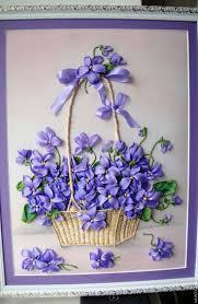 Купить Картина вышитая лентами Фиалки в корзинке ...
