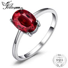 <b>JewelryPalace 1.6ct Pure Red</b> Garnet Solitaire Ring For Women ...