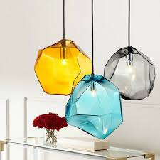 Stone 1-<b>Light</b> Mini Colorful Glass Pendant <b>Light G9</b> Halogen <b>Lamp</b> ...