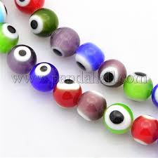 Wholesale Handmade <b>Evil Eye</b> Lampwork Round Bead Strands ...