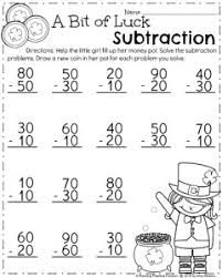 March First Grade Worksheets - Planning PlaytimeMarch Math Worksheet for First Grade - Multiples of 10 Subtraction.