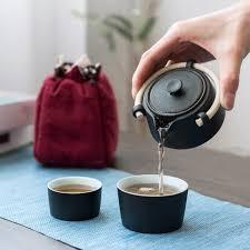 <b>TANGPIN</b> Black Crockery <b>Ceramic Teapot Gaiwan</b> Teacup Portable ...