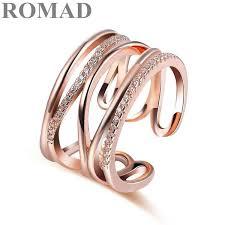 2019 <b>ROMAD</b> Trendy Adjustable <b>Ring</b> Rose Gold Color <b>CZ Rings</b> ...