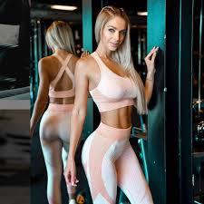 <b>Women Seamless Yoga</b> Set Gym Fitness Top Sportswear High ...