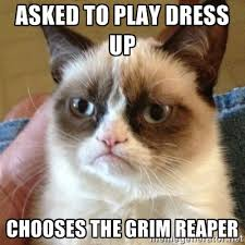 asked to play dress up chooses the grim reaper - Grumpy Cat | Meme ... via Relatably.com