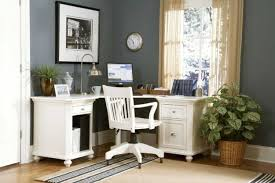 glorious white wooden swivel chairs feat l shape white office table as decorate in small gary painted modern home office decor ideas business office decorating themes